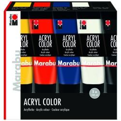 Akrylové barvy sada 5x100 ml základní odstíny Marabu