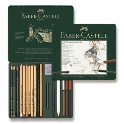 Pitt Monochrome set 21 kusů Faber Castell v kovové kazetě