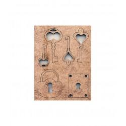 Výřezy z MDF klíče a zámky 97x132 mm  Daily ART
