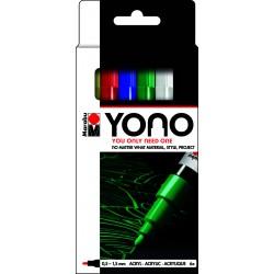 YONO univerzální 6x 0,5 - 1,5 mm akrylové popisovače sada basic Marabu