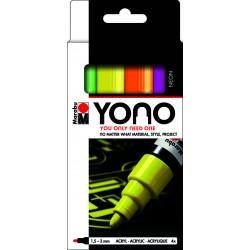 YONO univerzální 4x 1,5 - 3 mm akrylové popisovače sada neon Marabu