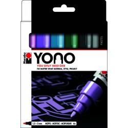 YONO univerzální 4x 1,5 - 3 mm akrylové popisovače sada pastel Marabu