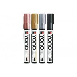 YONO univerzální 4x 1,5 - 3 mm akrylové popisovače sada metallic Marabu