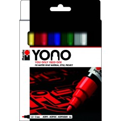 YONO univerzální 6x 1,5 - 3 mm akrylové popisovače sada basic Marabu