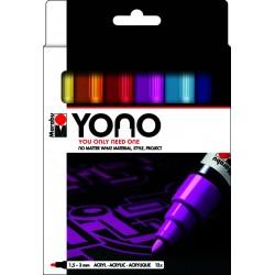 YONO univerzální 12x 1,5 - 3 mm akrylové popisovače sada Marabu