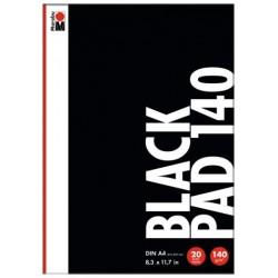 Černý blok A4 140g/m² 20 listů na akrylové popisovače Marabu