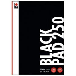 Černý blok A4 250g/m² 20 listů na akrylové popisovače Marabu