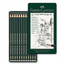 Tužky grafitové umělecké sada 12 kusů Design Set Faber Castell v kovové kazetě