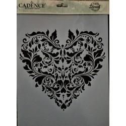 Šablona plastová, srdce, ornament, Cadence