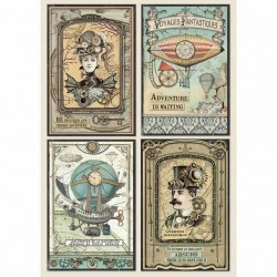 Rýžový papír Fantastické plavby kartičky Stamperia A4