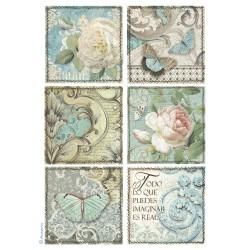Rýžový papír Kartičky s růžemi Stamperia A4