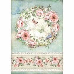 Rýžový papír Věnec růží s motýlky Stamperia A4