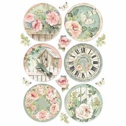 Rýžový papír Romantické kulaté hodiny Stamperia A4