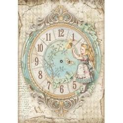 Rýžový papír Dívenka a hodiny Stamperia A4