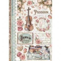 Rýžový papír Passion Růže a housle Stamperia A4
