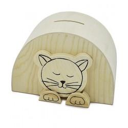 Pokladnička dřevěná 11,5 x 8 x 7 cm Kočička