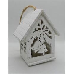 Domeček svítící se zvonečky 7,5 x 6 x 4 cm na zavěšení