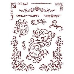 Gelová razítka ornamenty 18x14 cm arch 13 kusů