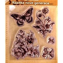 Gelová razítka motýlek a květiny 8 x 7 cm arch 5 kusů