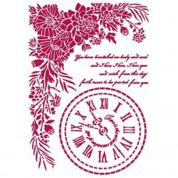 Šablona plastová Romantické hodiny a písmo Stamperia
