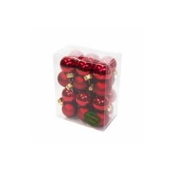 Baňky skleněné červené 2,5 cm 24 kusů