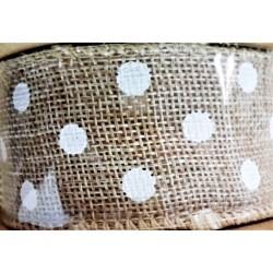 Stuha juta, přírodní, bílý puntík, š. 4 cm