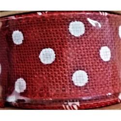 Stuha  juta, barva červená, bílý puntík, š. 4 cm