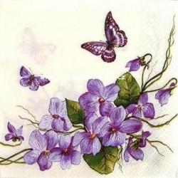 Ubrousek fialky s motýlky 33x33 cm