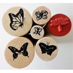 Razítka dřevěná, sada, motýlci, 6 ks