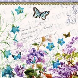Ubrousek motýl, modré zvonečky, květiny 33x33 cm