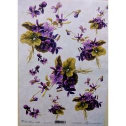 Rýžový papír A4, Kytička fialek