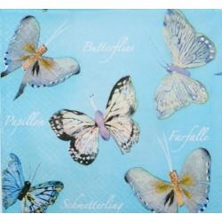 Ubrousek motýlci na modrém pozadí 33x33 cm