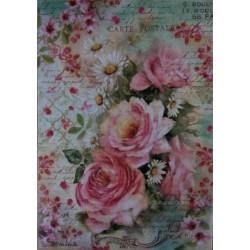 Rýžový papír A4, Růže, písmo, kopretiny