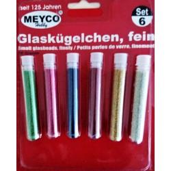 Skleněné kuličky, matný lesk, 6 barev, Meyco