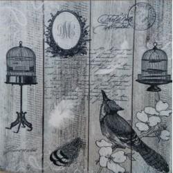 Ubrousek, Vintage, Ptáci,  klícka, písmo