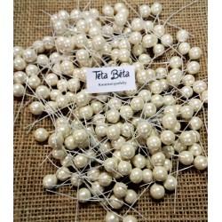 Kuličky na drátku perleťové, krémové, 1 cm