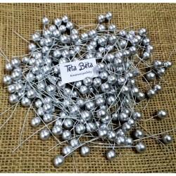 Kuličky stříbrné do věnců, matné, 1 cm