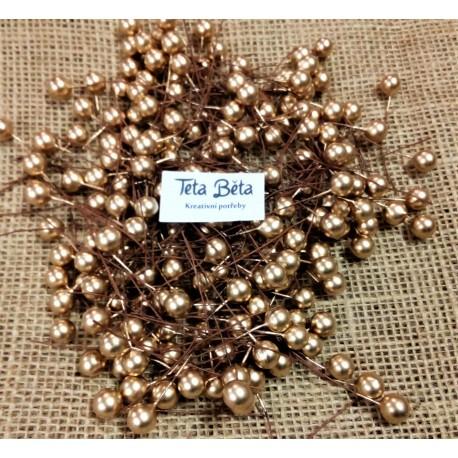 Kuličky   zlaté  do věnců, nadrátku,  matné, 1 cm