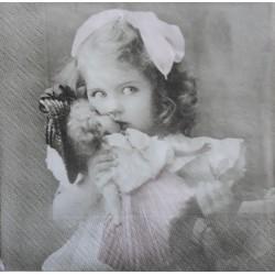 Ubrousek, Dívenka s panenkou, 33x33 cm