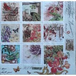Ubrousek, Motýlci a květinky ve čtverečcích 33x33 cm