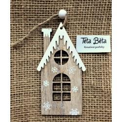 Domeček kostelíček s rampouchy, výřez z překližky