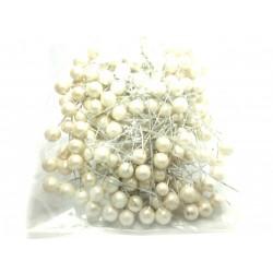 Kuličky na drátku, krémové perleťové, 1 cm