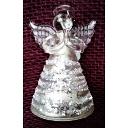 Anděl skleněný, s glitry, výška 7,5 cm