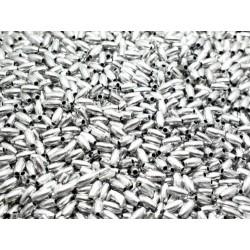 Plastové stříbrné korálky, válečky 7 mm