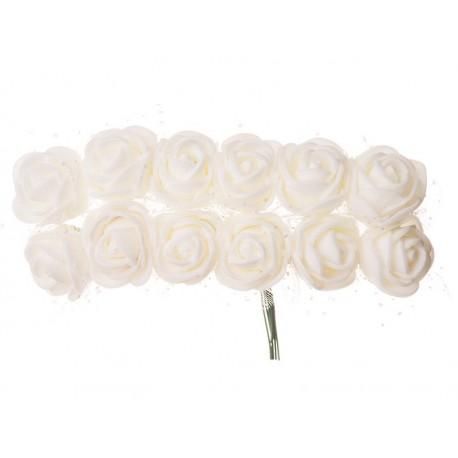 Růžičky pěnové, na drátku, průměr 2 cm