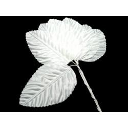 Lísteček bílý, na drátku, 6,5 cm x 4 cm