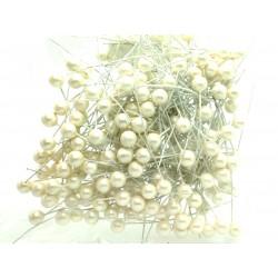 Kuličky, krémové perleťové, na drátku, průměr 0,8 cm