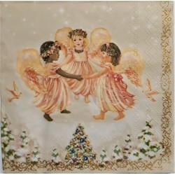 Ubrousek, Tančící andílci, vánoční motiv, 33 x 33 cm