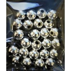 Korálky plastové, stříbrné, 8 mm, 25 ks