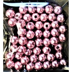 Plastové korálky růžové perleťové, 6 mm